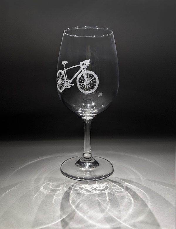 Hand Crafted Wine Glass - bike