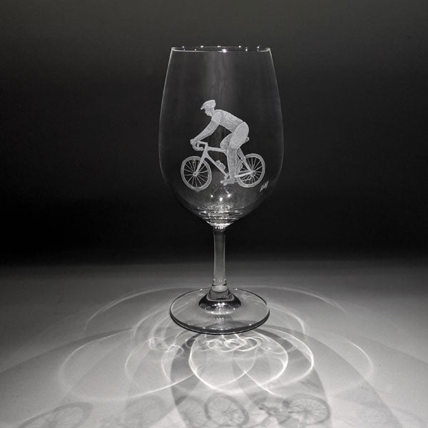 Hand Crafted Wine Glass - cyclist