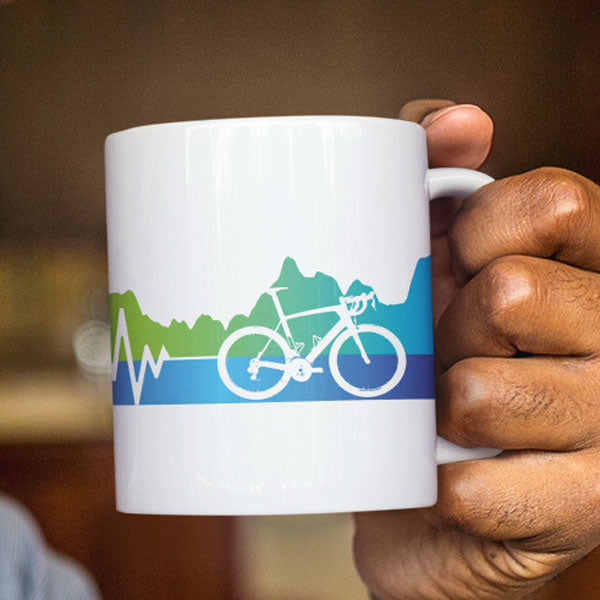 Elevation vs Heartbeat Ceramic Mug for Cyclists
