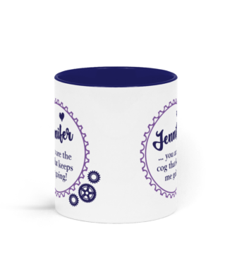 You are the Cog that Keeps me Going - Personalised Two Toned Mug - Purple