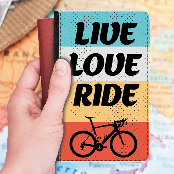 Passport Cover Faux Leather - Retro Design Live Love Ride Cycling