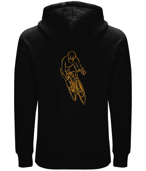 Road Cyclist Organic Cotton Unisex Pullover Hoodie - Front & Back Orange Design