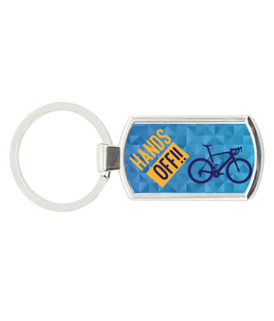 Hands Off - Oblong Metal Keyring