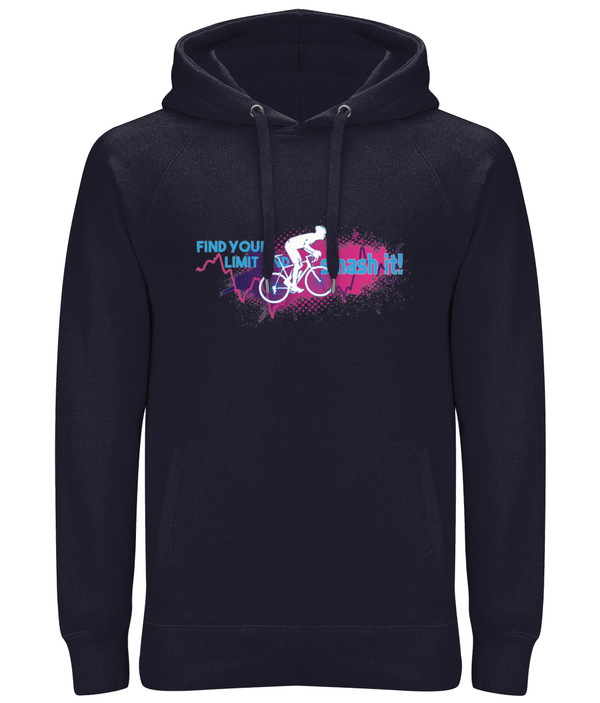 Find Your Limit Cycling Premium Cotton Unisex Pullover Hoodie with Side Pockets - Pink & Blue Design