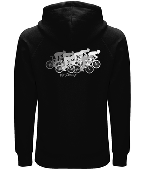 Slip Streaming Cycling Organic Cotton Unisex Pullover Hoodie - Front & Back White Design
