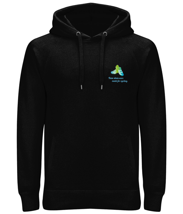 Shoes Made for Cycling Organic Cotton Unisex Pullover Hoodie - Front & Back Blue & Green Design