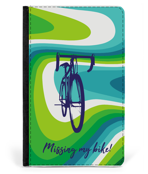 Passport Cover Faux Leather - Missing My Bike - Green & Teal Design