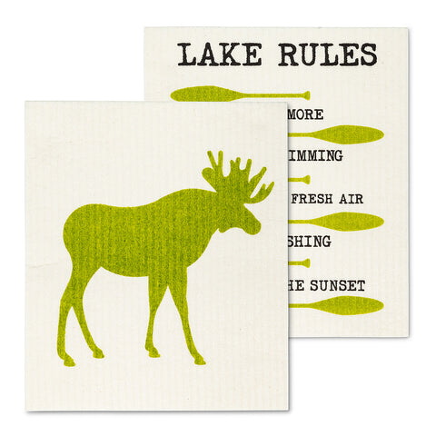 Moose Rules Dish Cloths Set/2