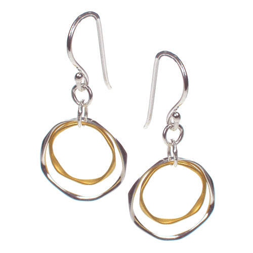 Double Circle Earrings Gold and Silver