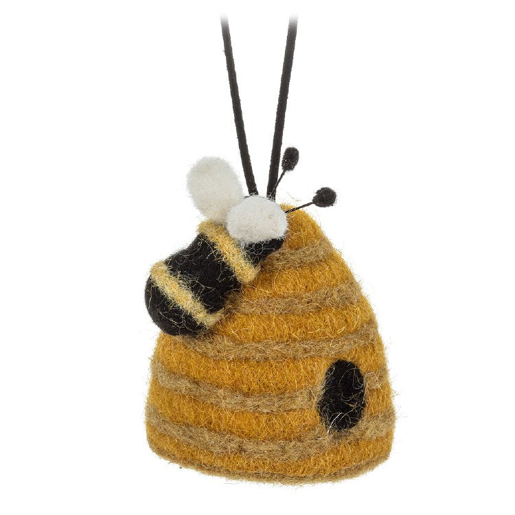 Beehive w Bee Ornament