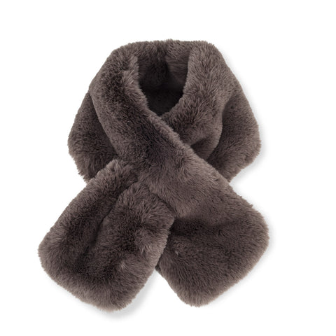 Luxury Faux Fur Pull Scarf Grey