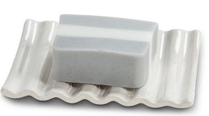 Ridged Soap Dish White