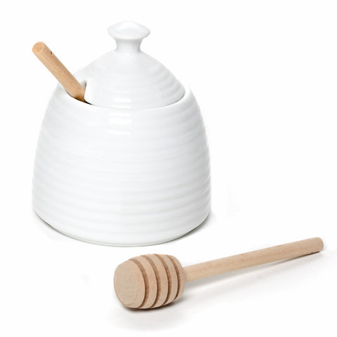 Beehive Shaped Honey Pot with Dauber