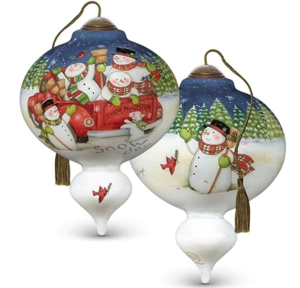 Snow Much Fun Hand painted Glass ornament