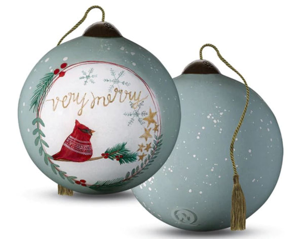 Very Merry Ornament Hand painted Glass Ornament