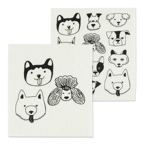Simple Dog Faces Dishcloths set/2