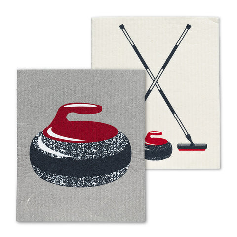 Curling Rock & Brooms Dish Cloths Set/2