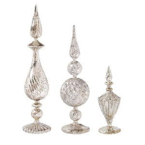 Silver Mercury Glass Finials