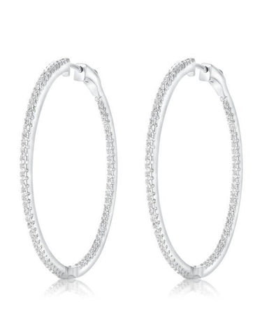 925 Hoop Earrings w/white CZ