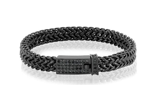Black Steel Double Franco Link Bracelet sz 9