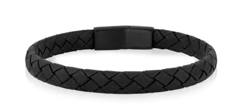 Flat Black Leather Bracelet sz 8.5