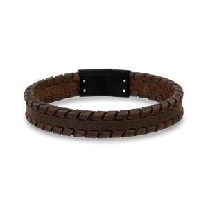 Brown Tire Track Leather Bracelet