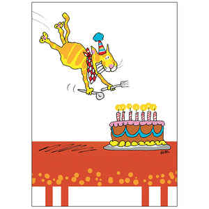 Cat Diving into Cake - Birthday Card