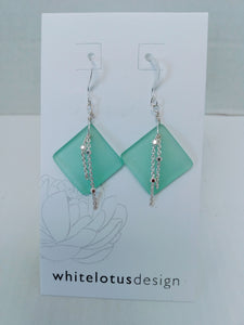 Modern sea glass drop earring