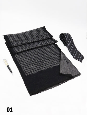 Houndstooth Reversible Scarf Black & Grey