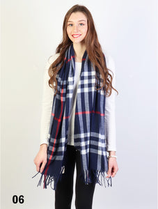 Plaid Cashmere Feeling Scarf Navy