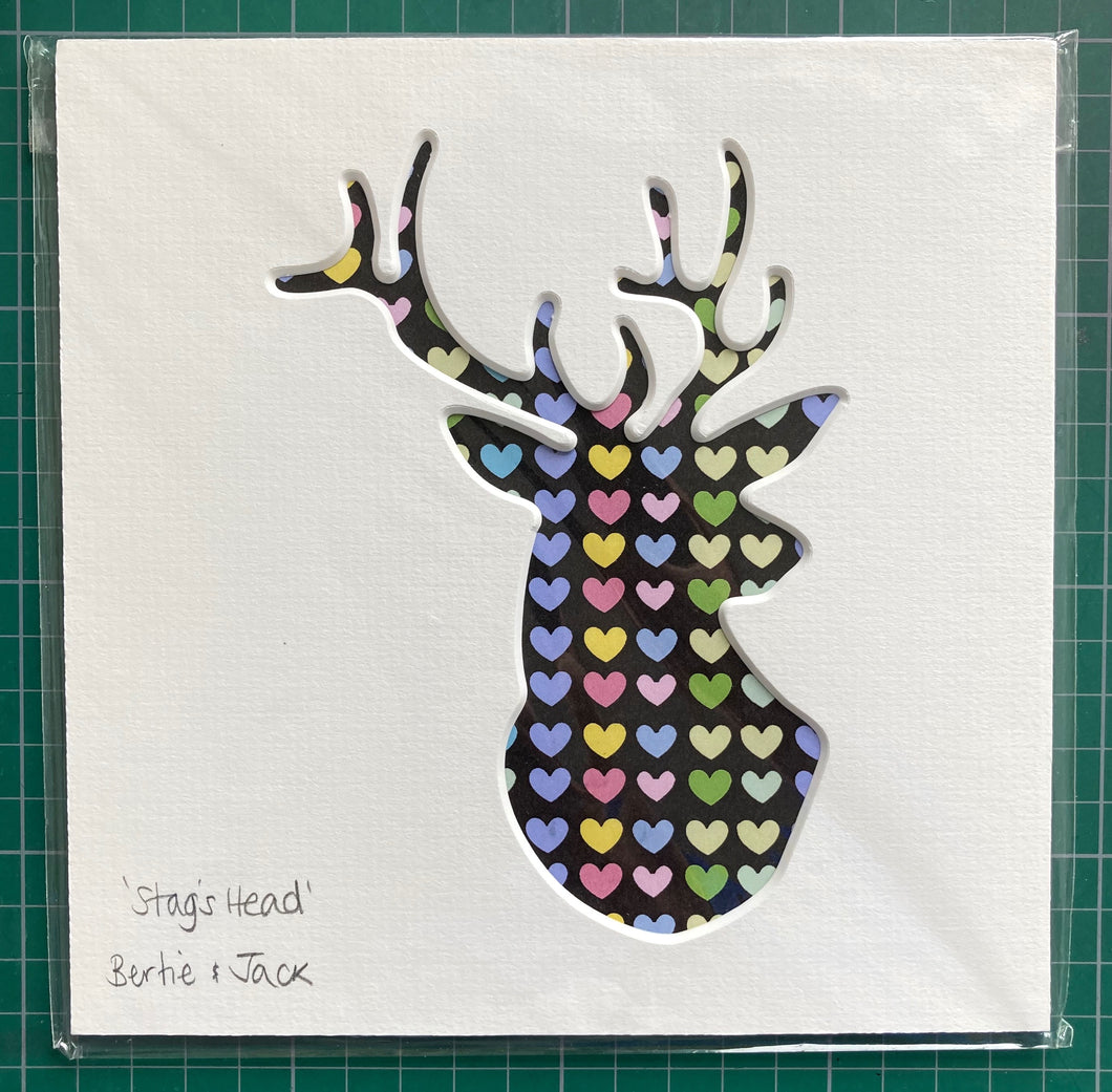 SALE! Unframed Mini Hearty Stag's Head