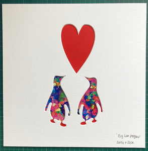 SALE! Medium Unframed 'Big Love Penguins'