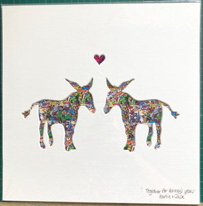 SALE! Unframed Medium Comic Donkeys.