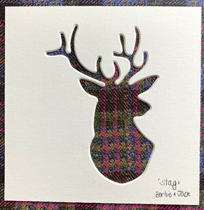 SALE! Mini Unframed Tartan 'Stag Head'