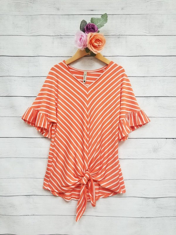 Ruffle Stripe Top {orange}