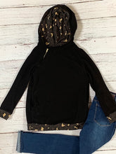 Load image into Gallery viewer, Black/Leopard Zipper Hoodie