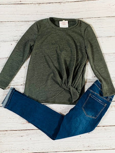 Side-Knot Sweater {olive}