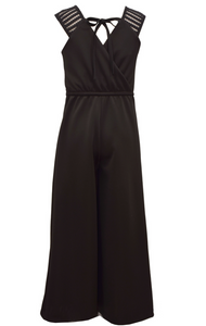 Black Rhinestone Bow Jumpsuit