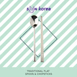 Traditional Flat Spoon & Chopsticks - Korean Tableware Set