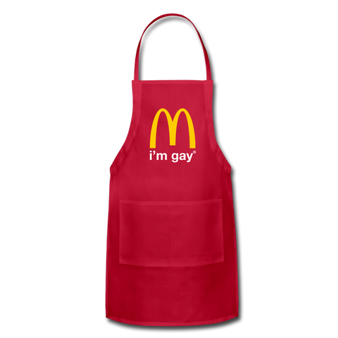 I'm Gay Adjustable Apron - red