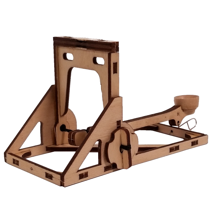 Quarter view of mini catapult ready to aim and fire