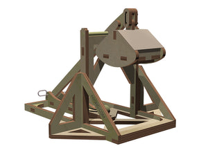 Other 3/4 view of assembled trebuchet showing branded abong logo on the side.