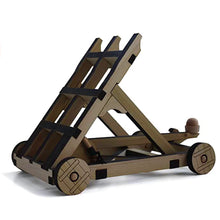 Load image into Gallery viewer, Side view of assembled catapult. It is knotched and loaded, ready to fire!