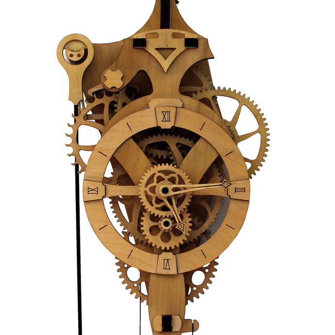 Front facing view of 'David' mechanical clock. Cropped to show head of clock & gears. It is displayed on a white background.