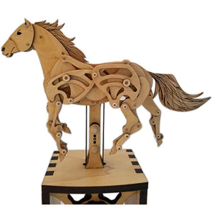 Side view of horse automaton. Can see full body.