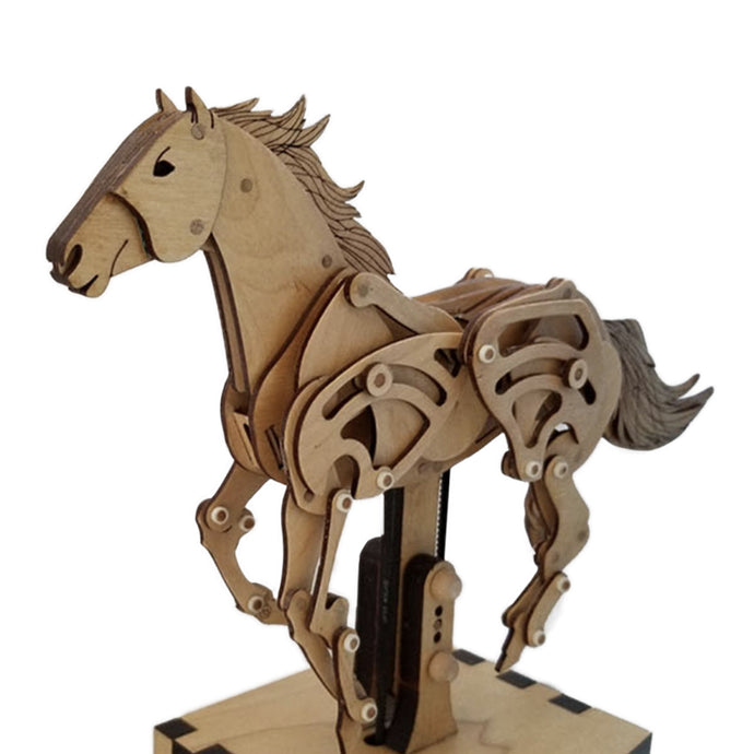 1/4 front view of horse automaton on white background.