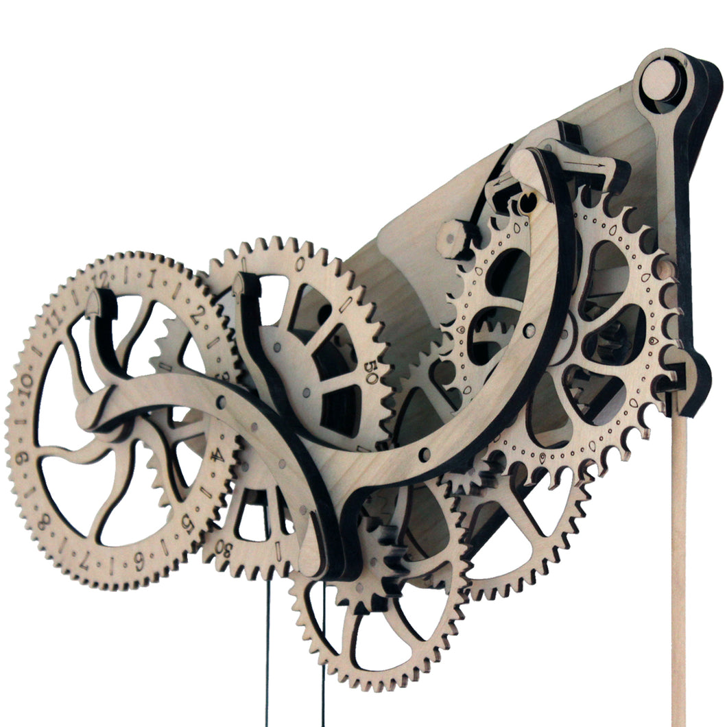 front facing view of clock head & gears on white background. Fully assembled.