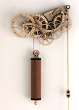 Load image into Gallery viewer, Front facing view of clock & pendulum. Hung on White wall.