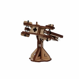 Head on view of assembled mini ballista. On a white background.