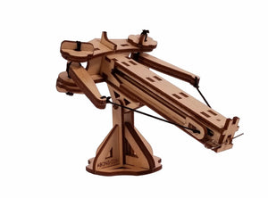 3/4 view of assembled mini ballista. can see branded abong logo on the bottom support bar.